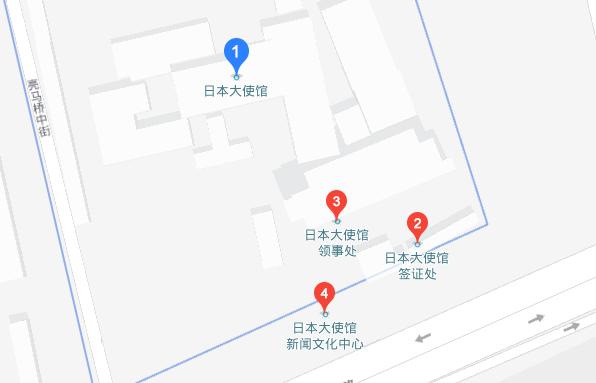 日本驻北京大使馆地图